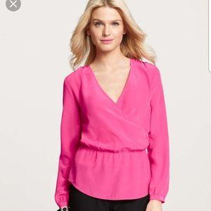 Ann Taylor Pink Silk Wrap Blouse Sz S